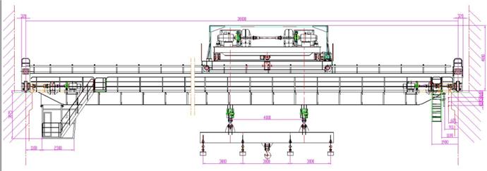 QL电磁挂梁桥式起重机,其挂梁方向分为与主梁平行和与主梁垂直两种,并在挂梁下方装有电磁吸盘,通过电磁吸盘完成物料搬运工作,该起重机适用于钢厂仓库,用作搬运钢板、碎料等,小车的运行机构采用重级工作制度,其起重量为5t+5t—20+20t,跨度为10.5m-31.5m,工作环境温度为-25~+40。允许在无火灾、爆炸危险和腐蚀性介质的环境中工作,禁止吊运熔融金属、有毒、易燃易爆物品。电源为三相交流、50HZ、380V。